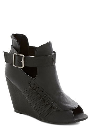 Spoken Word Championship Bootie - High, Faux Leather, Black, Solid, Buckles, Cutout, Good, Peep Toe, Urban, Wedge