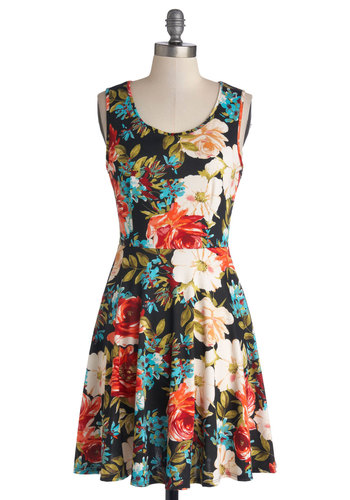 Day Off the Grid Dress in Bright Floral - Multi, Floral, Casual, A-line, Tank top (2 thick straps), Good, Scoop, Knit, Mid-length, Variation, Sundress, Top Rated