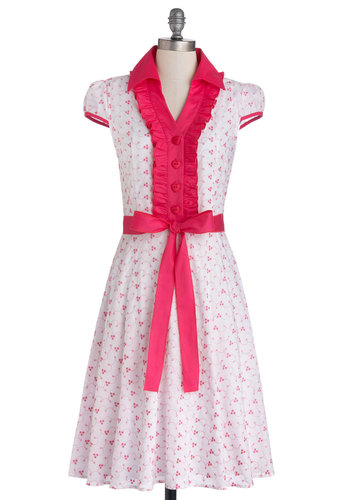 About the Artist Dress in Pink Petals - Cotton, Woven, Pink, Floral, Buttons, Ruffles, Belted, Casual, Shirt Dress, Cap Sleeves, Good, Collared, Valentine's, Variation, Top Rated, Spring, White, Full-Size Run, Long