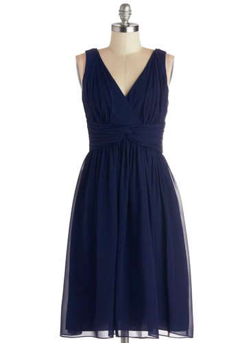 Glorious Guest Dress in Navy - Chiffon, Woven, Wedding, Bridesmaid, Blue, Solid, Ruching, Cocktail, A-line, Sleeveless, Better, V Neck, Prom, Empire, Long, Full-Size Run