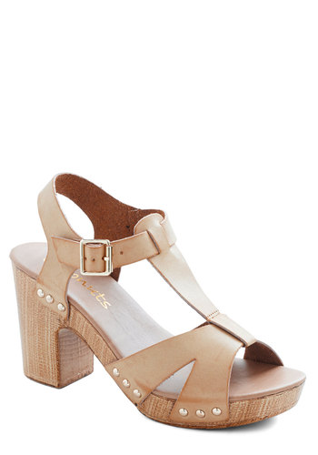 Shoreline Dining Heel - Mid, Faux Leather, Tan, Solid, Buckles, Cutout, Better, T-Strap, Daytime Party, Spring, Platform, Top Rated