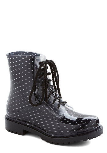 Lost in Spot Rain Boot in Dots - Low, Black, White, Polka Dots, Good, Lace Up, Casual, Spring