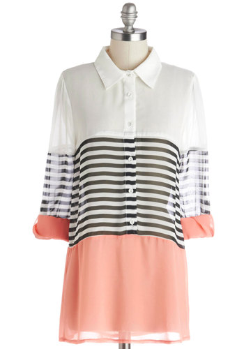 Apartment Tour Top in Apricot - Chiffon, Sheer, Woven, Multi, Pink, Black, White, Stripes, Buttons, Casual, Colorblocking, Variation, Collared, Multi, Tab Sleeve, Long
