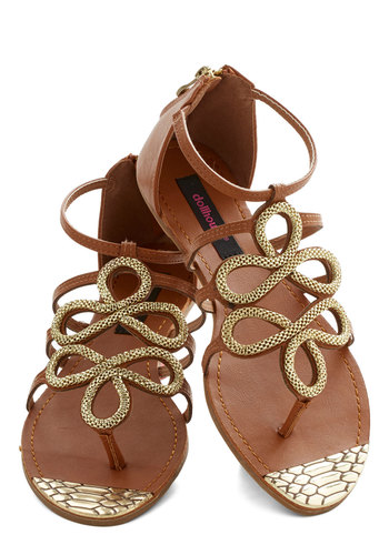 Sparkling Swirls Sandal - Flat, Faux Leather, Tan, Gold, Solid, Party, Daytime Party, Good, Strappy, Summer, Beach/Resort