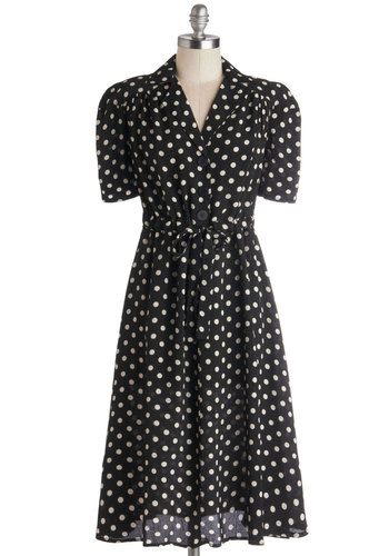 According to Lesson Plan Dress - Chiffon, Woven, Black, White, Polka Dots, Buttons, Belted, Casual, Vintage Inspired, Shirt Dress, Short Sleeves, Better, Film Noir, 40s, Collared, Long