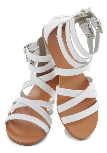 Boardwalk Bridge Sandal - Flat, Faux Leather, White, Solid, Buckles, Good, Strappy, Beach/Resort, Summer