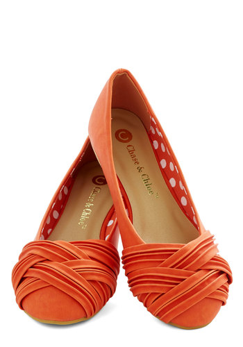 Fresh Steps Flat - Flat, Faux Leather, Orange, Solid, Braided, Casual, Good