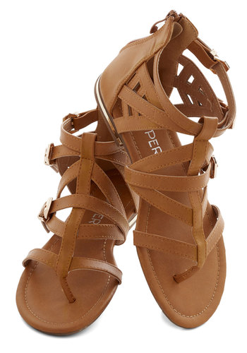 Key to Strappiness Sandal - Flat, Faux Leather, Tan, Solid, Good, Strappy, Summer, Casual, Beach/Resort, Festival, Boho