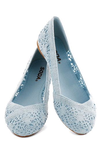 Morning Ritual Flat - Flat, Sheer, Knit, Blue, Solid, Crochet, Casual, Pastel, Good