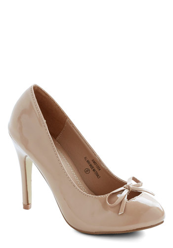Essence of an Era Heel in Latté - High, Faux Leather, Tan, Solid, Bows, Wedding, Party, Valentine's, Good, Variation