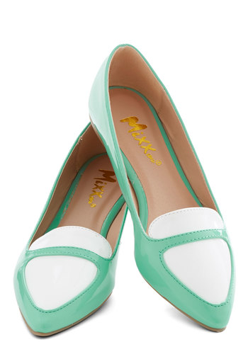 Dashing and Dancing Flat - Flat, Faux Leather, Mint, White, Solid, Work, Menswear Inspired, Pastel, Good, Daytime Party