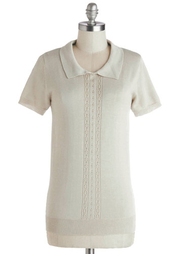 Corner Office Top by Myrtlewood - Sheer, Knit, Mid-length, Cream, Solid, Work, Short Sleeves, Spring, Better, Exclusives, Private Label, Collared, White, Short Sleeve