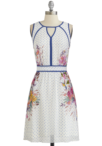 Peripheral View Dress - White, Blue, Multi, Polka Dots, Floral, Trim, A-line, Sleeveless, Better, Scoop, Beads, Cutout, Daytime Party, Woven, Mid-length