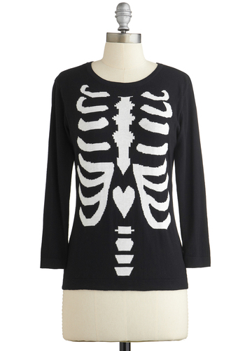 X-ray of Sunshine Sweater by Kling - Black, White, Novelty Print, Steampunk, Skulls, Long Sleeve, Better, International Designer, Black, Long Sleeve, Casual, Cotton, Knit, Mid-length