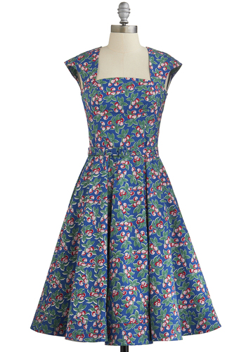 Be Bountiful Dress - Novelty Print, Pockets, Casual, Best, International Designer, Belted, Fruits, Fit & Flare, Cap Sleeves, Multi