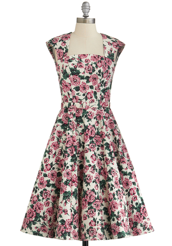Full of Romance Dress - Floral, Pockets, Daytime Party, Best, International Designer, Belted, Fit & Flare, Cap Sleeves, Spring, Multi, Long, Woven