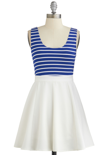 Hangin' with the Crew Dress - Blue, White, Stripes, Cutout, Casual, Nautical, Fit & Flare, Tank top (2 thick straps), Good, Scoop, Twofer, Spring, Summer, Knit, Woven, Short, Mixed Media