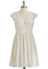 Candy Shop 'Til You Drop Dress - White, Multi, Polka Dots, Belted, Casual, A-line, Cap Sleeves, Good, V Neck, Short, Woven