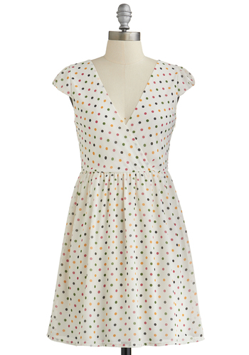 Candy Shop 'Til You Drop Dress - Polka Dots, Belted, Casual, A-line, Cap Sleeves, Good, V Neck, Short, Woven, Green, Pink, White, Show On Featured Sale