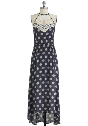 A Stone's Throwback Dress - Blue, White, Polka Dots, Crochet, Party, Maxi, Halter, Good