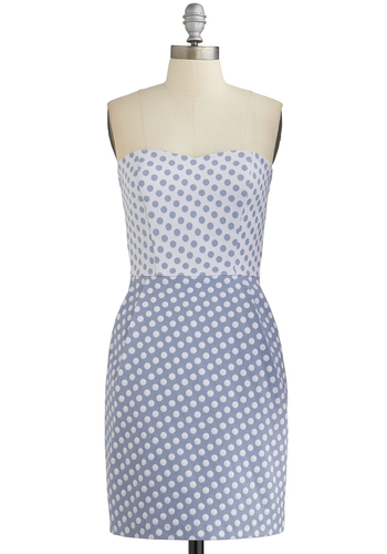 Dots in Common Dress - Grey, White, Polka Dots, Pockets, Party, Shift, Strapless, Good, Sweetheart, Woven, Mid-length, Spring, Summer