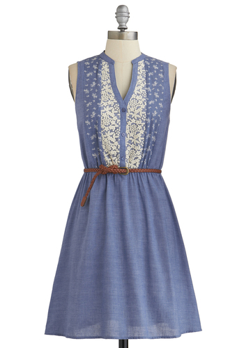 Prairie Date Dress - Blue, White, Embroidery, Belted, Casual, A-line, Sleeveless, Good, Buttons, Mid-length, Woven, Boho, Festival