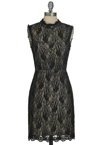 Mystery Evolved Dress - Sheer, Knit, Mid-length, Black, Tan / Cream, Backless, Lace, Cocktail, Film Noir, LBD, Shift, Sleeveless, Good, Lace, Girls Night Out