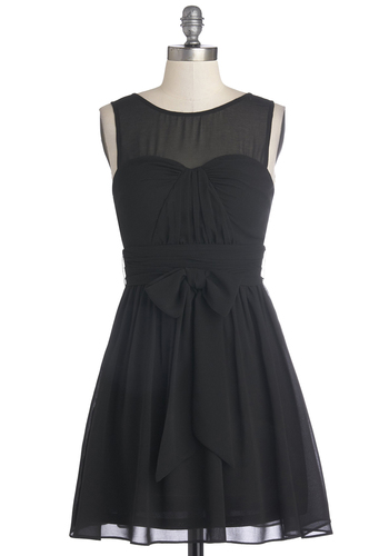 Everything's Going My Sway Dress - Chiffon, Sheer, Woven, Short, Black, Solid, Belted, Ruching, Party, A-line, Sleeveless, Good, LBD, Bridesmaid, Special Occasion, Wedding, Cocktail