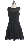 Everything's Going My Sway Dress - Chiffon, Sheer, Woven, Short, Black, Solid, Belted, Ruching, Party, A-line, Sleeveless, Good, LBD, Bridesmaid, Special Occasion, Wedding