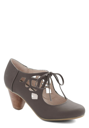 Strutting Your Stuff Heel in Graphite by Chelsea Crew - Grey, Solid, Cutout, Lace Up, Mid, Faux Leather, Vintage Inspired, 40s, Variation