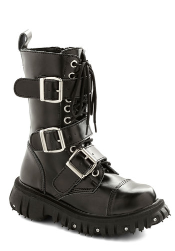 Strap-In Style Boot - Mid, Leather, Black, Solid, Buckles, Studs, Steampunk, Best, Lace Up, Urban, Statement