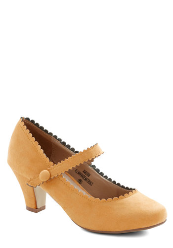 Sentimental Strides Heel in Mustard - Mid, Faux Leather, Yellow, Solid, Party, Daytime Party, Darling, Good, Mary Jane, Scallops, Variation
