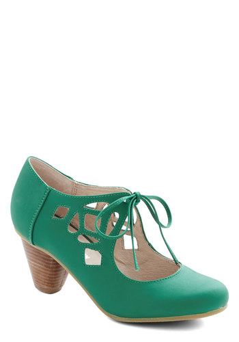 Strutting Your Stuff Heel in Emerald by Chelsea Crew - Green, Solid, Cutout, Party, Holiday Party, 40s, Lace Up, Mid, Faux Leather, Vintage Inspired, Variation