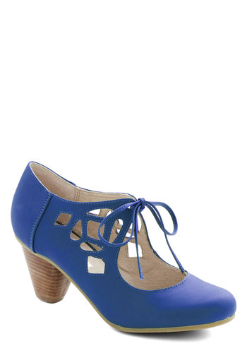 Strutting Your Stuff Heel in Cobalt by Chelsea Crew - Mid, Faux Leather, Blue, Solid, Cutout, Wedding, Party, Vintage Inspired, 40s, Better, Lace Up, Chunky heel, Variation