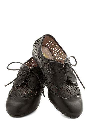 Letter Writing Flat - Flat, Faux Leather, Black, Solid, Cutout, Menswear Inspired, Good, Lace Up