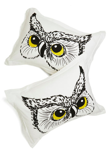 Owl Did You Sleep? Pillow Sham Set - Owls, Good, Print with Animals, Exclusives, Cotton, Woven, White, Black, Critters, Press Placement, Woodland Creature
