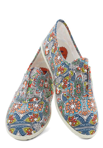 Think Outside the Bocce Flat in Floral - Flat, Woven, Multi, Floral, Good, Casual, Summer