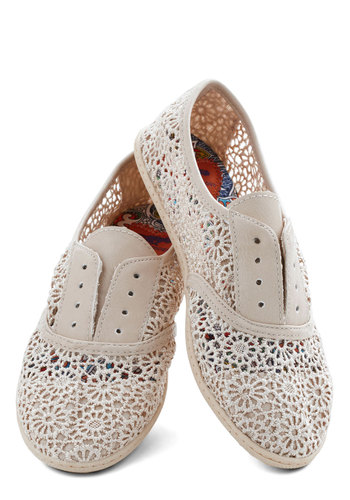 Think Outside the Bocce Flat in Lace - Flat, Sheer, Faux Leather, Knit, Cream, Solid, Cutout, Good, Lace, Lace