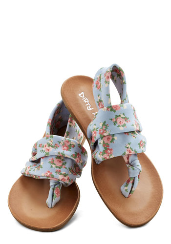 Stay in the Loop Sandal in Pastel Floral - Low, Knit, Blue, Multi, Floral, Beach/Resort, Good, Slingback, Casual, Pastel, Variation, Festival