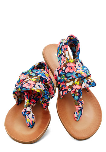 Stay in the Loop Sandal in Navy Floral - Low, Knit, Multi, Floral, Beach/Resort, Good, Slingback, Casual, Variation, Festival