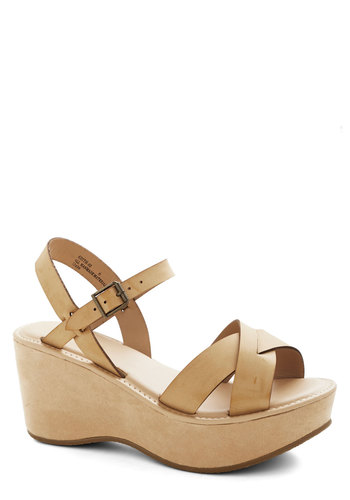 Wear It Well Wedge in Beige - Mid, Faux Leather, Tan, Solid, Casual, Daytime Party, Good, Platform, Wedge, Strappy, Summer