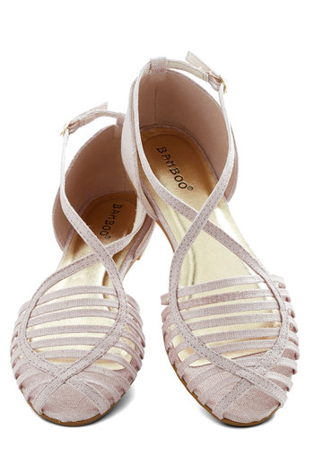 Shimmer in the City Flat - Flat, Woven, Solid, Cutout, Beach/Resort, Summer, Good, Strappy, Pink, Daytime Party, Pastel