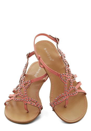 That Girly Glimmer Sandal in Pink - Flat, Faux Leather, Pink, Solid, Cutout, Studs, Beach/Resort, Good, Strappy, Summer