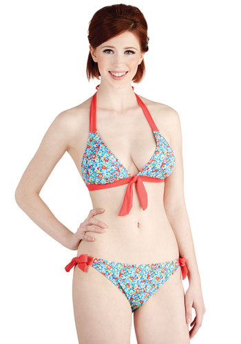 Along the Coastline Swimsuit Top - Blue, Multi, Floral, Bows, Beach/Resort, Halter, Summer, Good, Knit, Coral