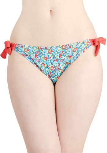 Along the Coastline Swimsuit Bottom - Blue, Multi, Floral, Beach/Resort, Summer, Good, Knit, Coral
