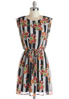 Croquet Bouquet Dress by Tulle Clothing - Multi, Stripes, Floral, Belted, Casual, A-line, Cap Sleeves, Better, Scoop, Woven, Mid-length