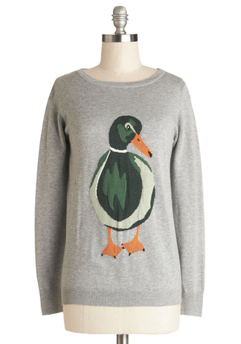 Happy Go Ducky Sweater by Sugarhill Boutique - Grey, Green, Print with Animals, Critters, Long Sleeve, Knit, Better, International Designer, Grey, Long Sleeve, Mid-length, Bird, Woodland Creature