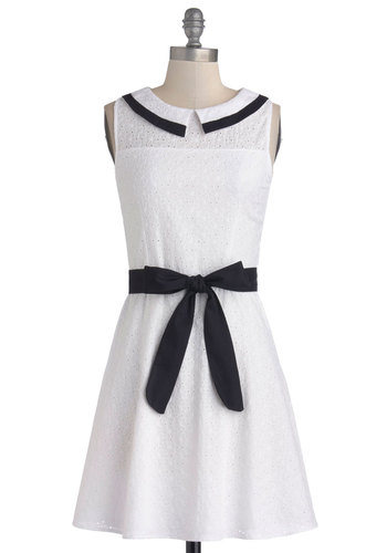 Accent of Adorable Dress - Cotton, Sheer, Knit, Woven, Mid-length, White, Black, Eyelet, Peter Pan Collar, Belted, Casual, A-line, Sleeveless, Good, Collared