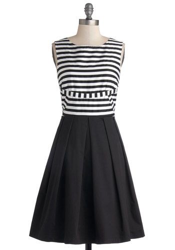 Dock and Roll Dress by Bea & Dot - Cotton, Woven, Mid-length, White, Stripes, Pleats, Casual, A-line, Sleeveless, Better, Black, Exclusives