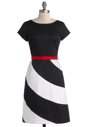 Poetry in the Plaza Dress by Bea & Dot - Cotton, Woven, Mid-length, Black, White, Pockets, Belted, Work, Sheath / Shift, Short Sleeves, Better, Exclusives, Private Label